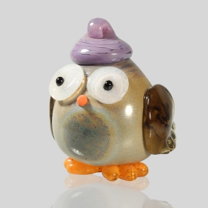 Kingston Glass Studio: Owlet Ornament, Purple