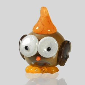 Kingston Glass Studio: Owlet Ornament, Orange
