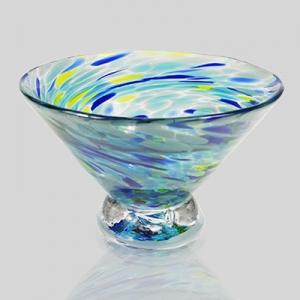 Kingston Glass Studio: Speckle Dessert Bowl, Blue
