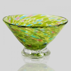 Kingston Glass Studio: Speckle Dessert Bowl, Green