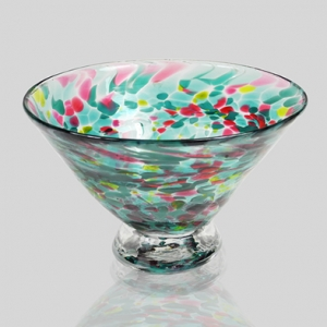 Kingston Glass Studio: Speckle Dessert Bowl, Teal
