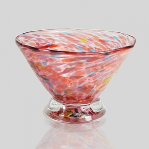 Kingston Glass Studio: Speckle Dessert Bowl, Pink