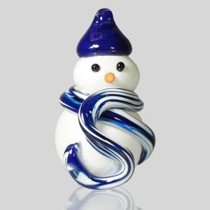 Kingston Glass Studio: Snowman Ornament, Cobalt