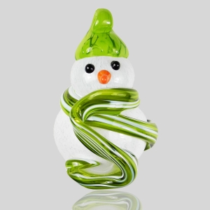 Kingston Glass Studio: Snowman Ornament, Lime