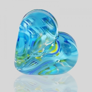 Kingston Glass Studio: Sweet Heart Paperweight, Blue