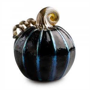 Ross Delano: Small Pumpkin, Black with Gold Ridges