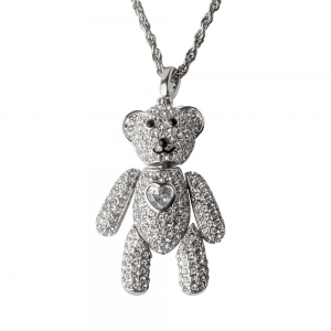 Borun Crystal: Silver Bear Necklace