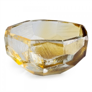 Vitreluxe Glass: Large Crystal Bowl, Amber