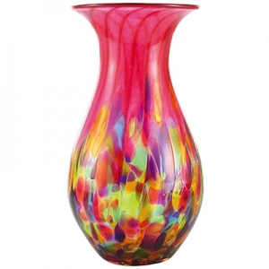 Glass Eye Studio: Cranberry Rainbow Raindrop Vase