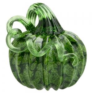 Vitrix Hot Glass Studio: Pumpkin Paperweight, Green with Green Stem