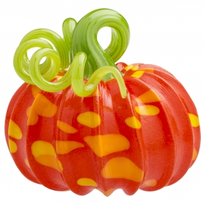 Vitrix Hot Glass Studio: Pumpkin Paperweight, Orange with Green Stem