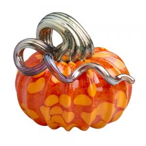 Vitrix Hot Glass Studio: Pumpkin Paperweight, Orange with Silver Stem
