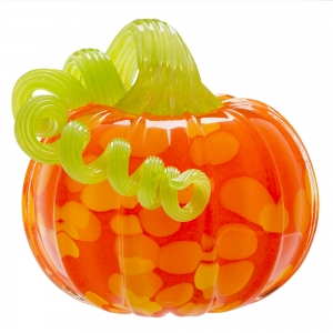 Vitrix Hot Glass Studio: Pumpkin, Orange with Green Stem
