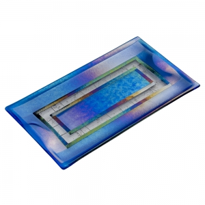 Verre Visage: Tray, Blue & White Stringer