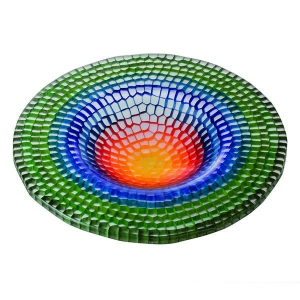 Gabriele Kustner: Medium Round Dish, Green/Blue/Red/Yellow
