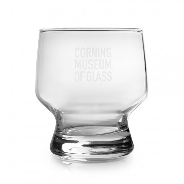Clear double old fashioned glass featuring The Corning Museum of Glass logo in white