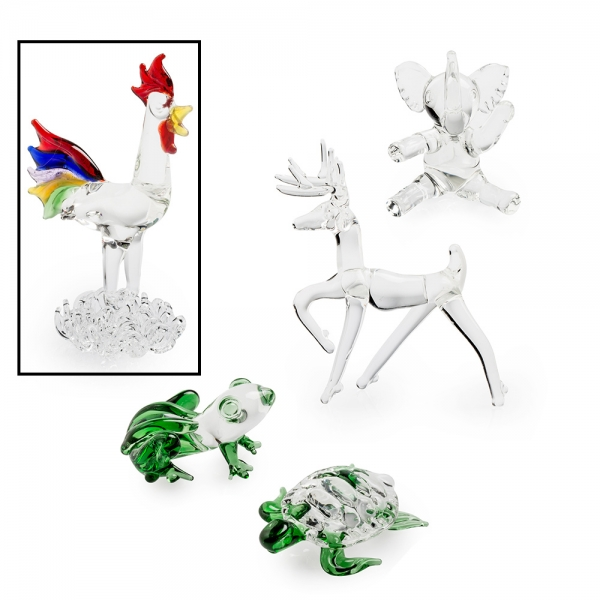 Five glass animal figurines, clear rooster with multicolor feathers selected