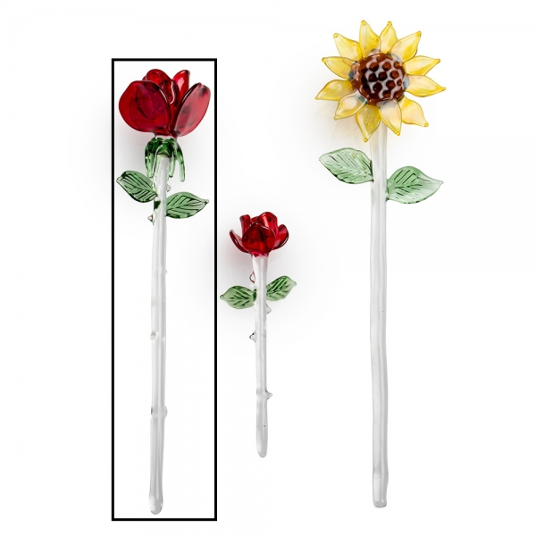 Three glass flowers, medium red rose with clear stem and green leaves selected
