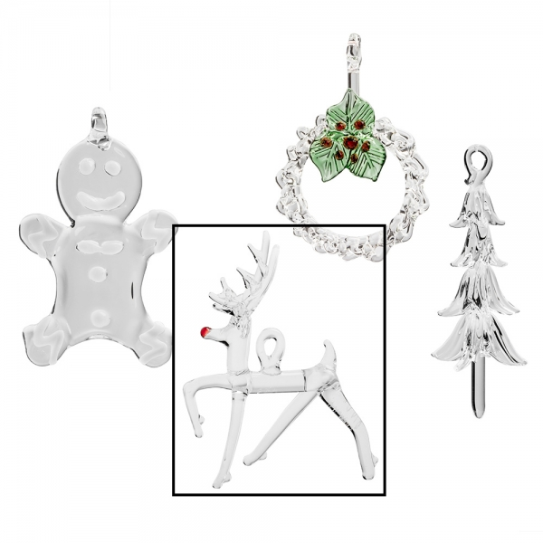Four glass ornaments, clear reindeer with red nose selected