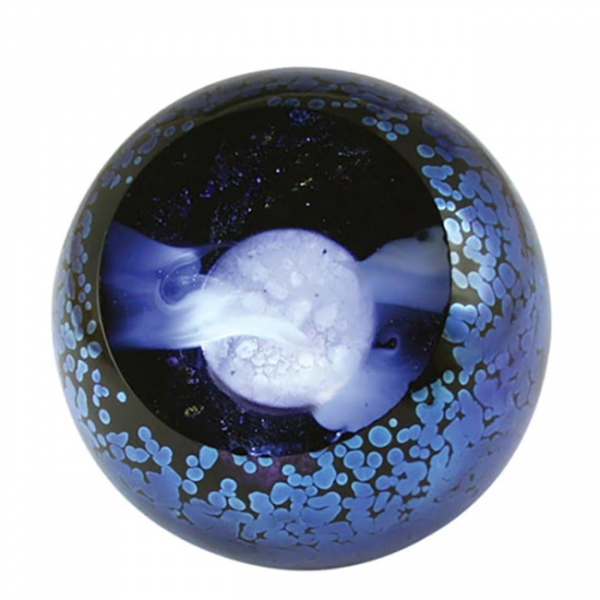 Black and blue speckled glass faceted orb with interior blue and white moon and clouds