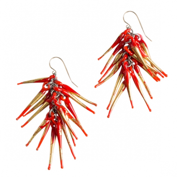 Nirit Dekel: Strand Earrings, Red & Gold