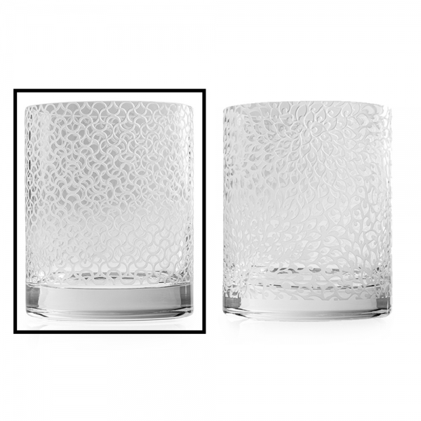 Two glass hurricanes, Adana clear lattice pattern is selected