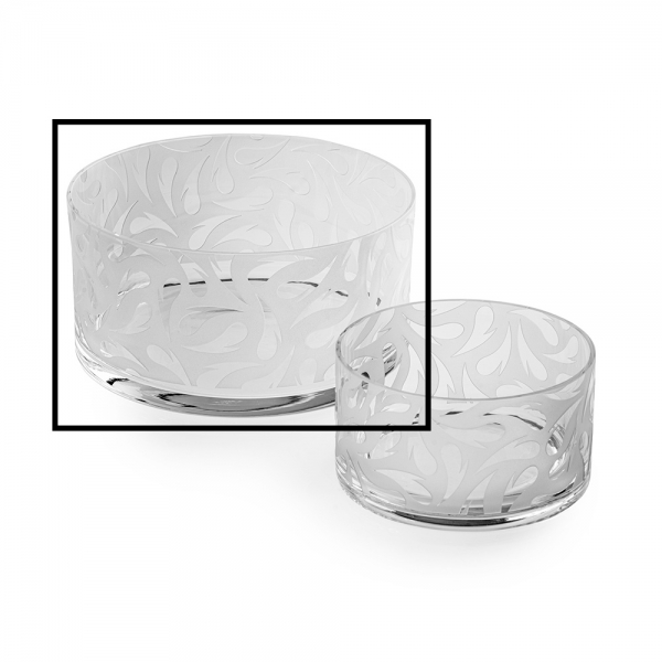 Two glass bowls, clear with heart pattern, large size is selected