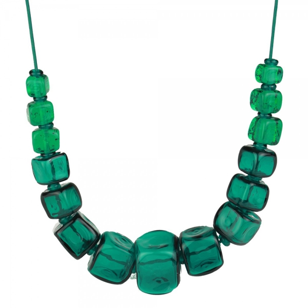 Necklace with 15 large teal hollow beads spaced with smaller beads in between them