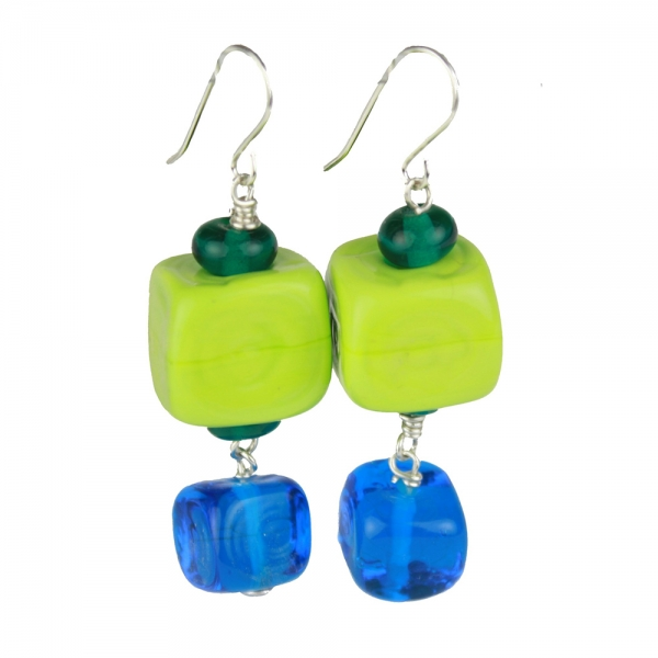 Drop earrings with hollow green glass cube bead and smaller blue bead below