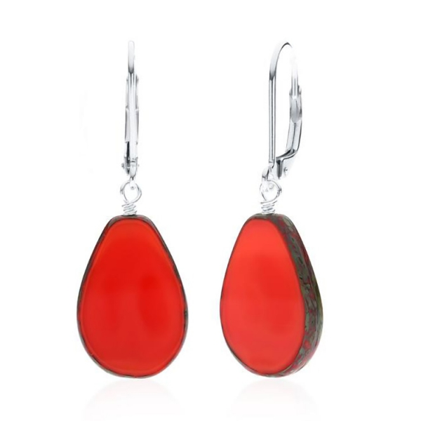 Red glass teardrop shaped earrings with silver wire