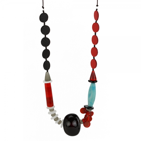 Necklace with blue, gray, red, and black glass beads of various sizes
