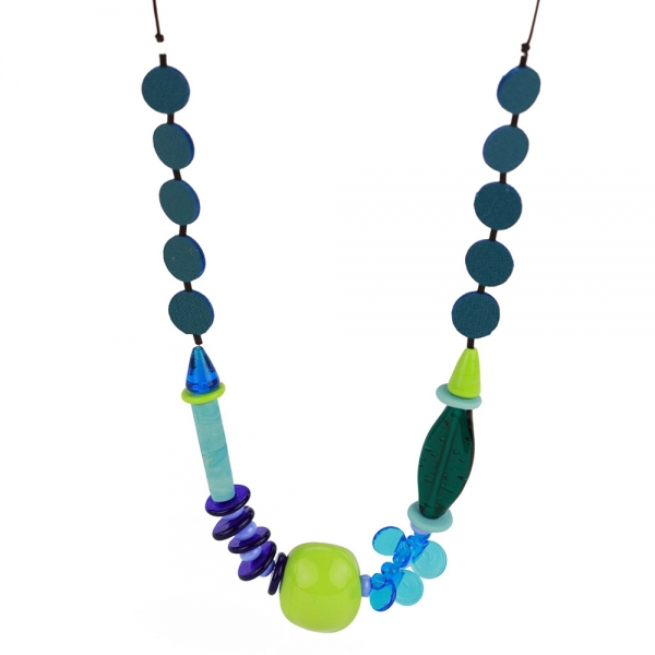 Necklace with blue and green glass beads of various sizes