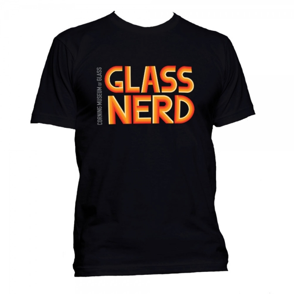 Black t-shirt with bright red and orange Glass Nerd text on it