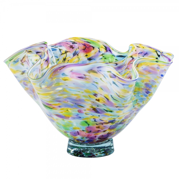 Glass floppy bowl multicolor speckles