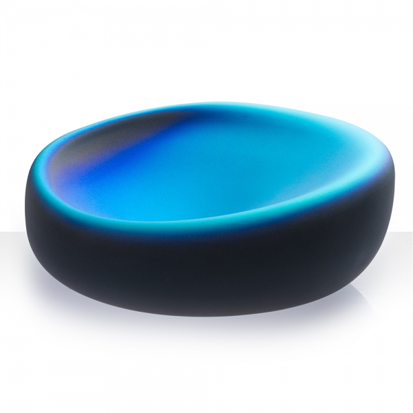 River Rock Oval Iridescent Glass Bowl, hints of different shades of blue's & black