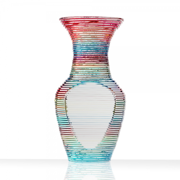 Glass mini me solid vase, polished plate glass with laminated multicolor with cut sides
