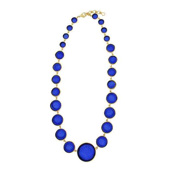 Chain necklace of cobalt glass bubbles each with gold on the edges and backs