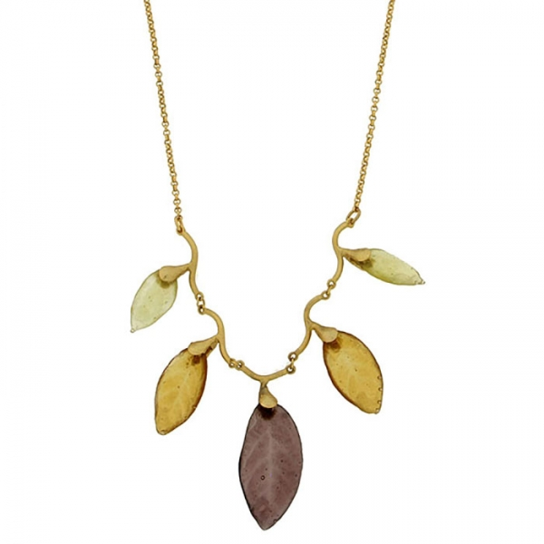 Necklace with five glass leaves suspended from it