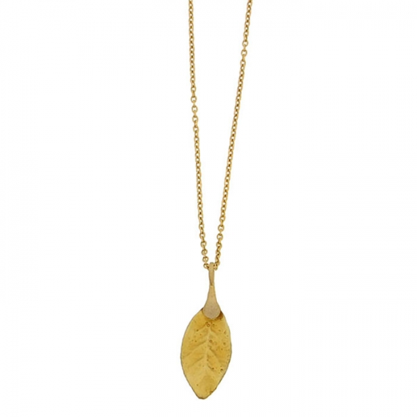Necklace with single glass leaf pendant