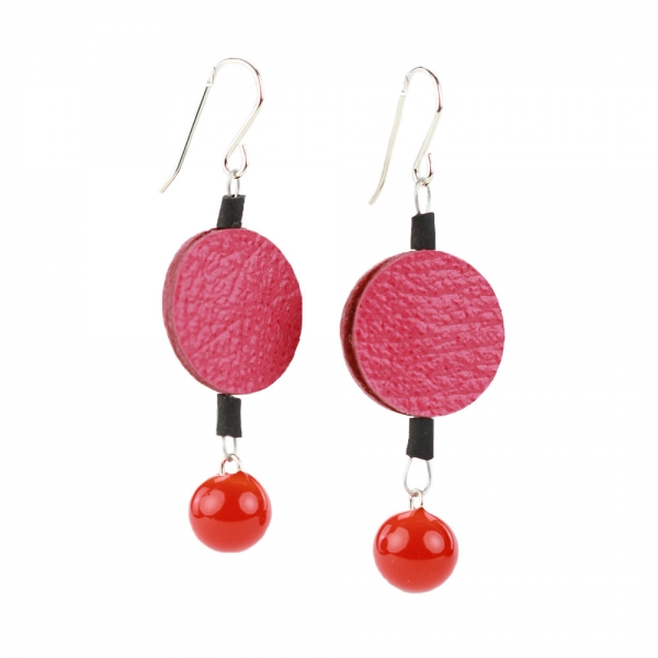 Drop earrings with pink round leather and orange glass bead under it