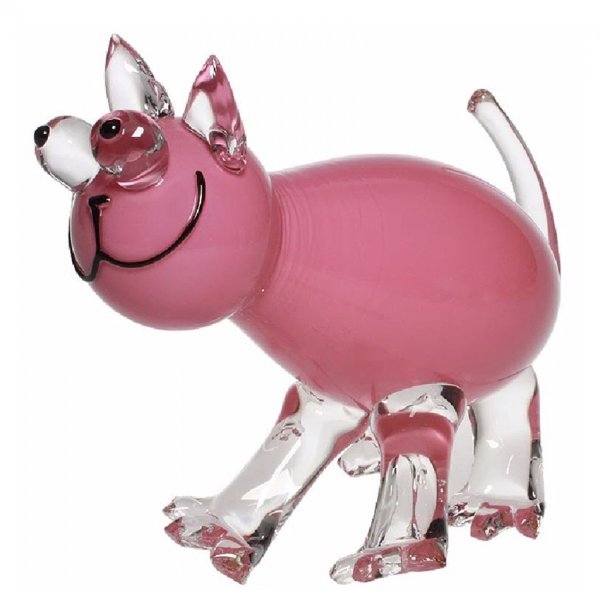 Pink glass cat sculpture with clear and black accents