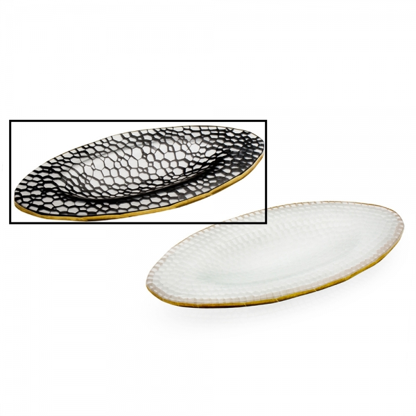 Two glass mosaic oval plates with gold rims, black with honeycomb pattern is selected
