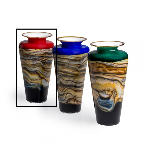 Three glass small strata urns with earth tone marble or rock overlay and white rounded top with metallic lip accent, red is selected