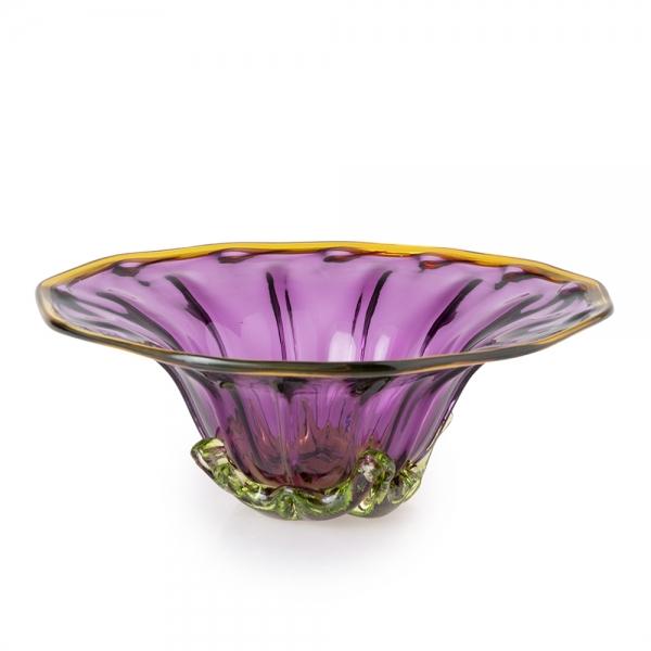 Flared purple glass bowl with green and topaz accents