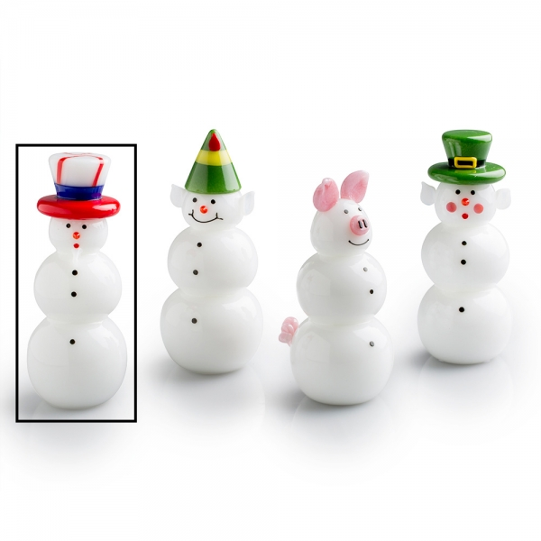 Four assorted glass snowpeople, one with white beard and red, white, and blue hat is selected