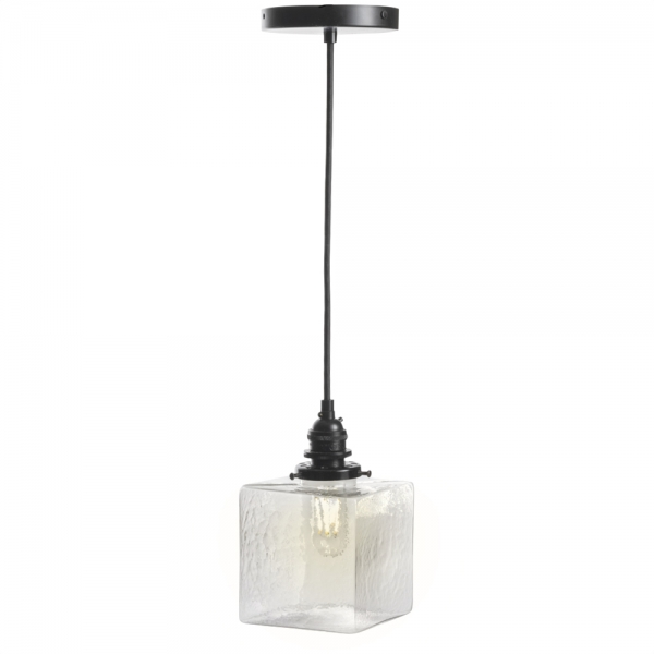 Clear glass cube pendant light