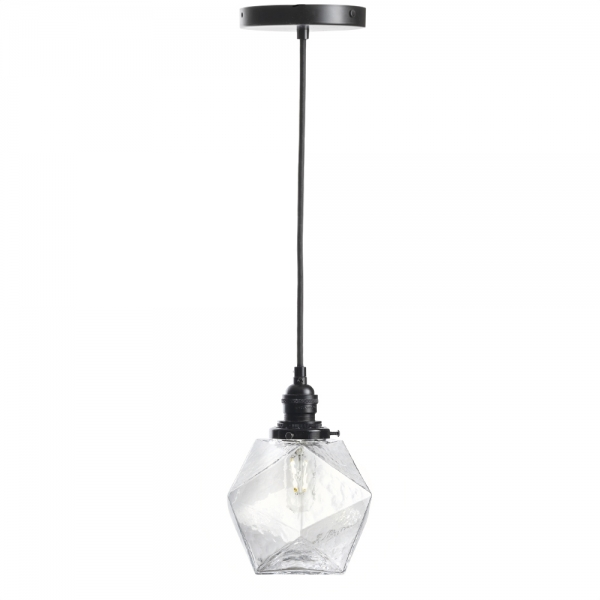 Clear glass icosahedron pendant light