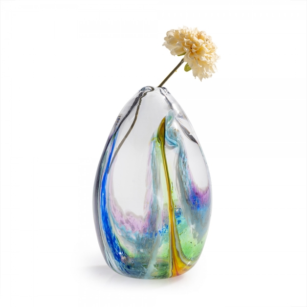 Clear blown glass tall vase with watercolor-like colors along the bottom and up the sides with a single flower