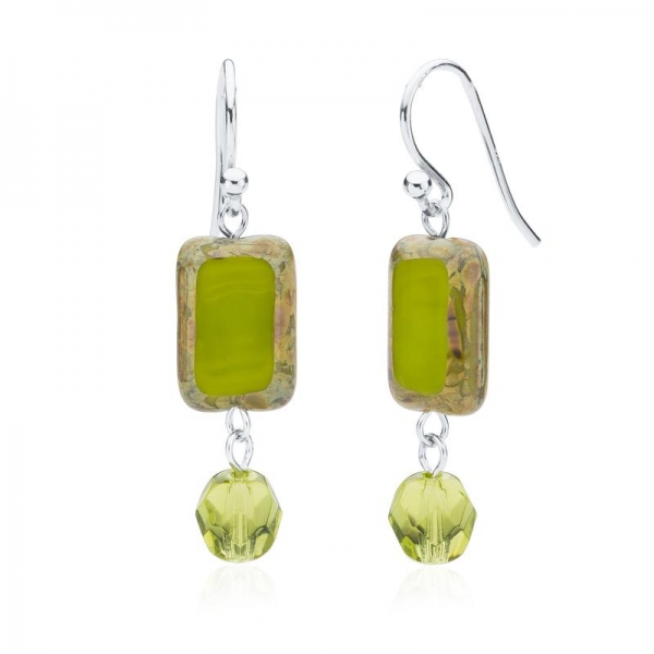 Dangle earrings with rectangular glass bead and round glass bead