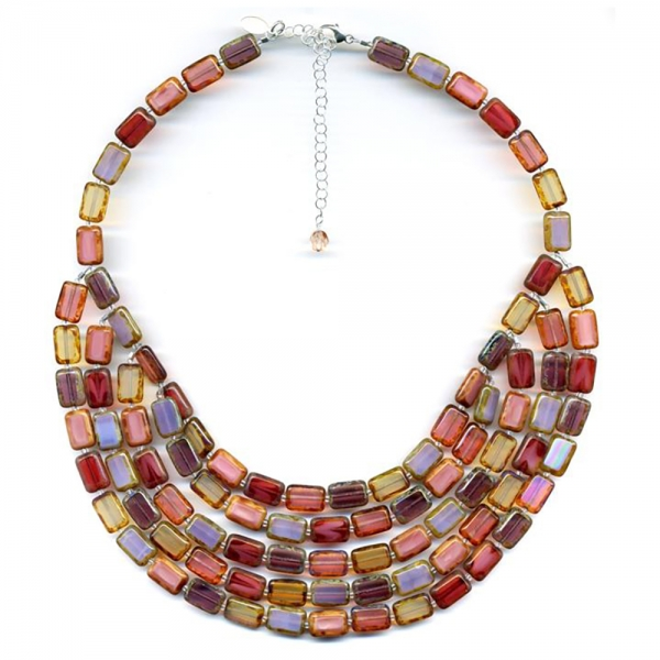 Necklace with five strands of rectangular glass beads